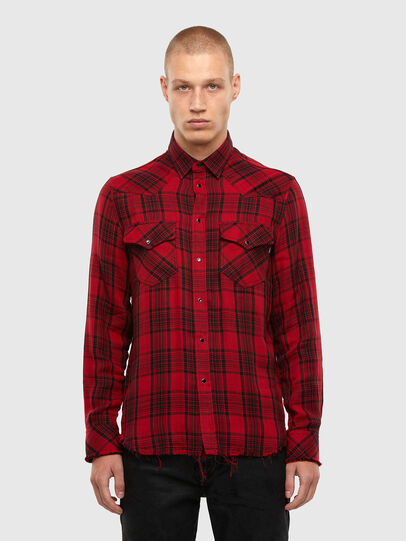Diesel - S-EAST-LONG-TUB, Black/Red - Shirts - Image 1