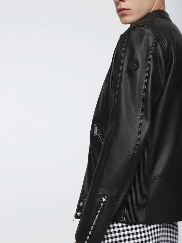 Diesel L-QUAD, Black Leather - Leather jackets - Image 5