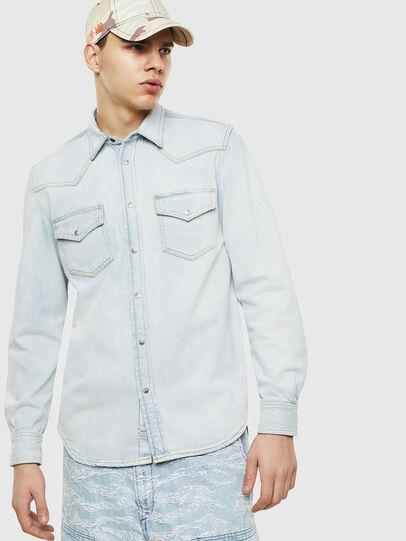 Diesel - D-EAST-P, Light Blue - Denim Shirts - Image 1