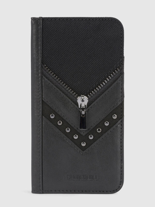 BLACK DENIM/STUD/ZIPPER IPHONE X FOLIO, Black