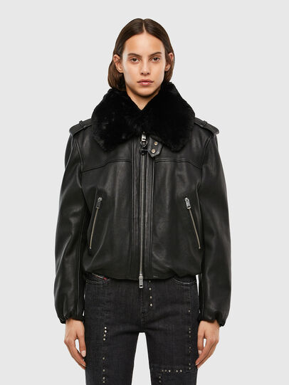 Diesel - L-LIV, Black - Leather jackets - Image 1