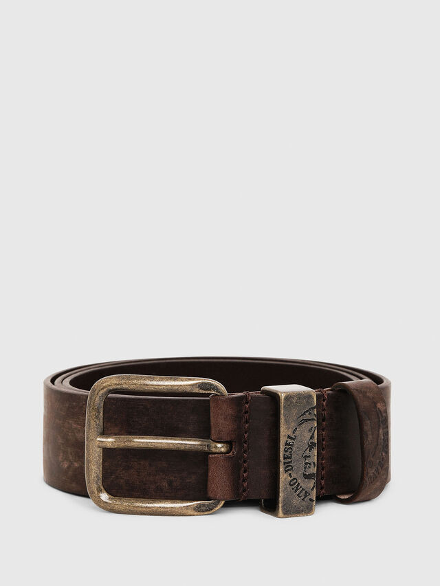 Diesel - B-FRAG, Brown Leather - Belts - Image 1