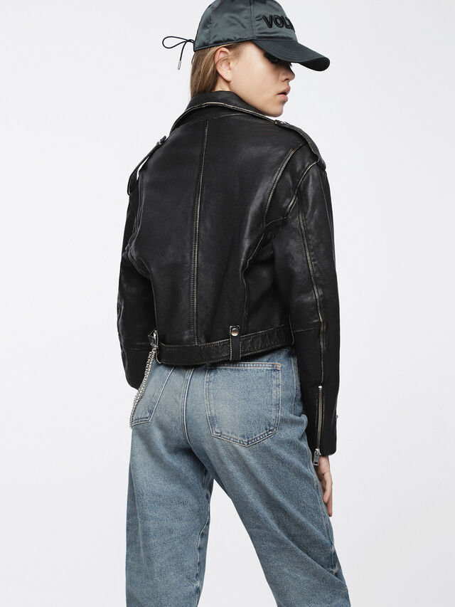 Diesel - L-HELGHEM, Black Leather - Leather jackets - Image 2