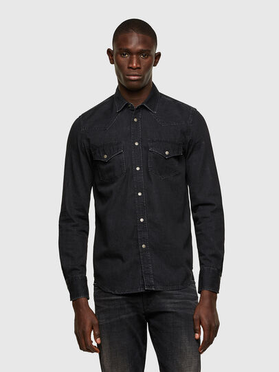 Diesel - D-EAST-P1, Black - Denim Shirts - Image 1