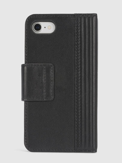 Diesel - BLACK LINED LEATHER IPHONE 8/7 FOLIO, Black - Flip covers - Image 4