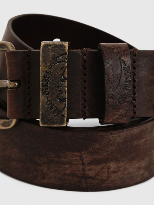 Diesel - B-FRAG, Brown Leather - Belts - Image 2