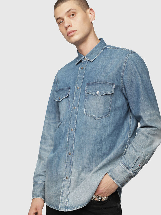 Diesel - D-ROOKE-Y, Blue Jeans - Denim Shirts - Image 3