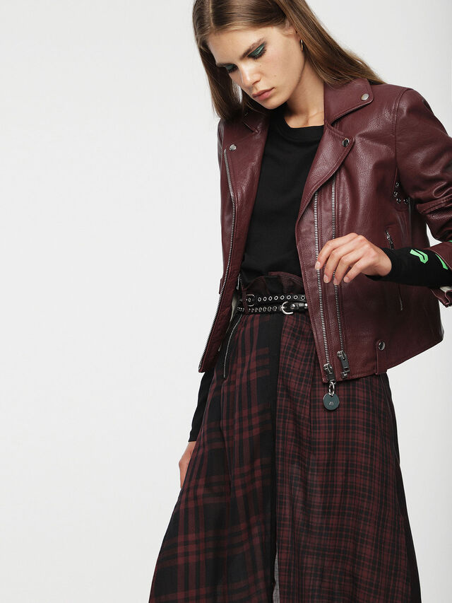 Diesel - L-AIMEE, Burgundy - Leather jackets - Image 4