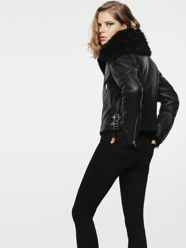 Diesel - L-TIA, Black Leather - Leather jackets - Image 4