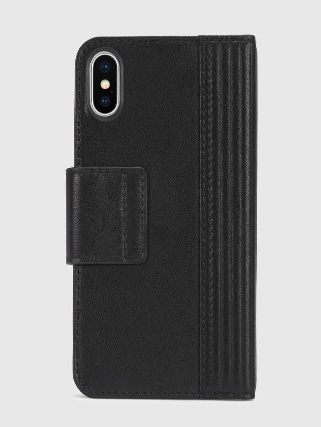 Diesel - BLACK LINED LEATHER IPHONE X FOLIO, Black - Flip covers - Image 5
