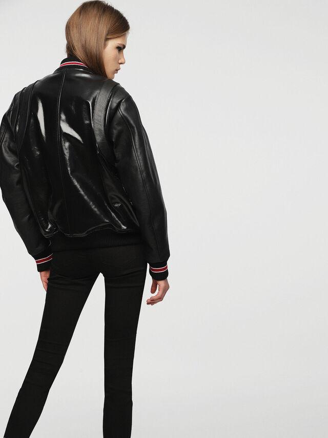 Diesel - L-BYLLA, Black Leather - Leather jackets - Image 2