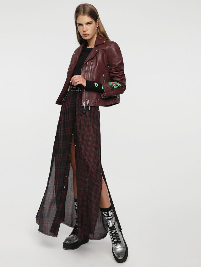 Diesel - L-AIMEE, Burgundy - Leather jackets - Image 6