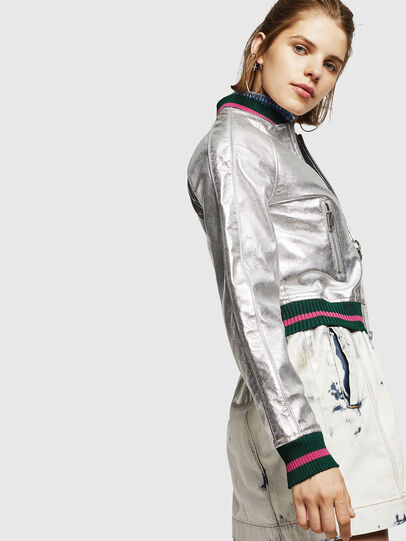 Diesel - L-NOTE, Silver - Leather jackets - Image 6