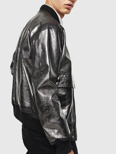 Diesel - L-STEWARD-FOIL, Black - Leather jackets - Image 3