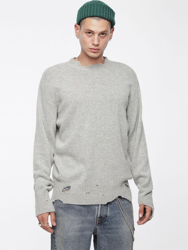 Diesel - K-MUST, Light Grey - Knitwear - Image 1