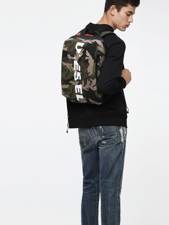 Diesel - F-SUBCAMOU BACK, Green Camouflage - Backpacks - Image 4
