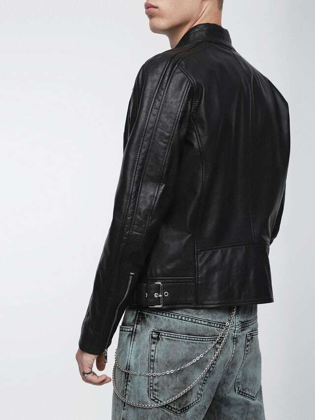 Diesel L-STREET, Black Leather - Leather jackets - Image 2