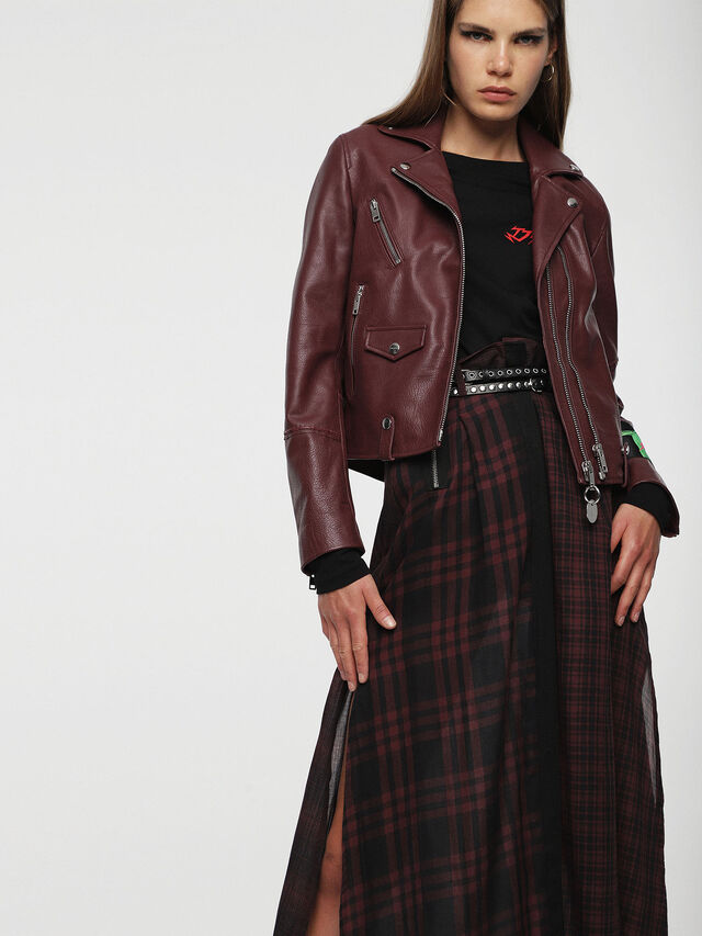 Diesel - L-AIMEE, Burgundy - Leather jackets - Image 1