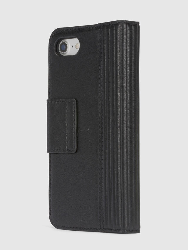 BLACK LINED LEATHER IPHONE 8/7 FOLIO, Black