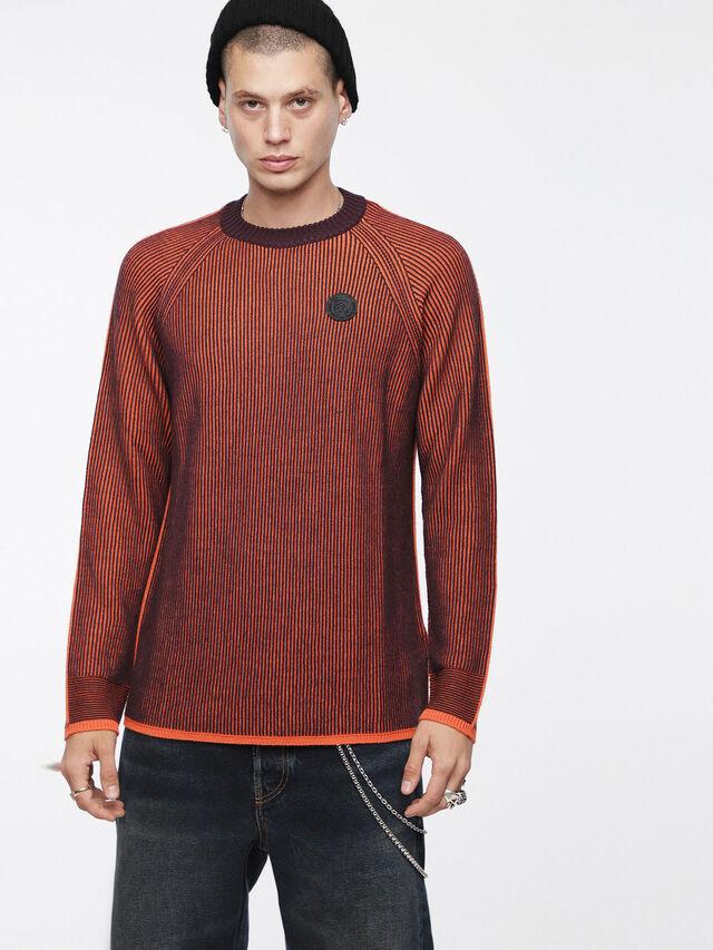 Diesel - K-BLEND, Orange/Black - Knitwear - Image 1