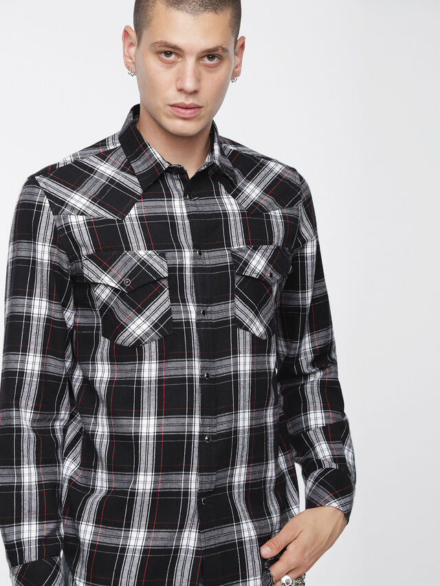 Diesel - S-EAST-LONG-C, Black/White - Shirts - Image 1