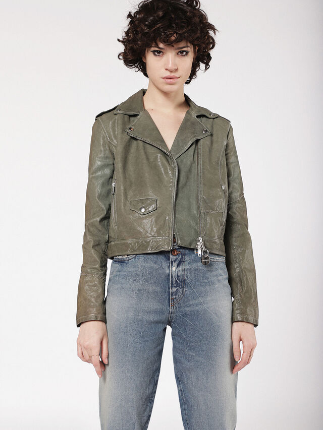 Diesel - L-SERY, Olive Green - Leather jackets - Image 1