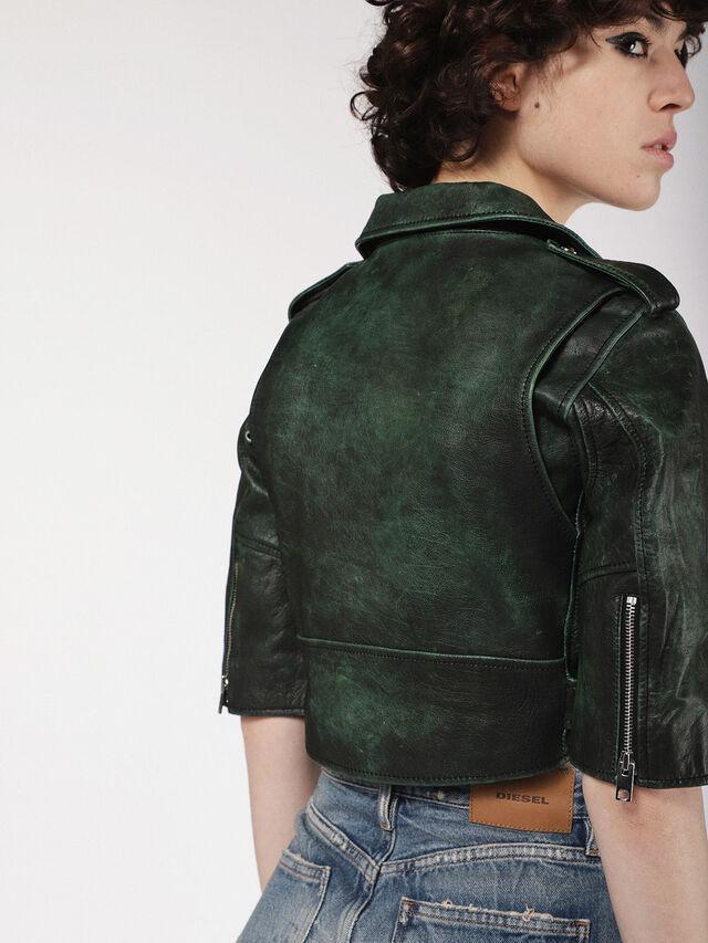 Diesel - L-JUPOR, Dark Green - Leather jackets - Image 4