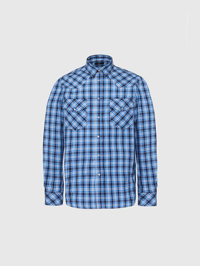 Diesel - S-EAST-LONG-O, Blue/White - Shirts - Image 1