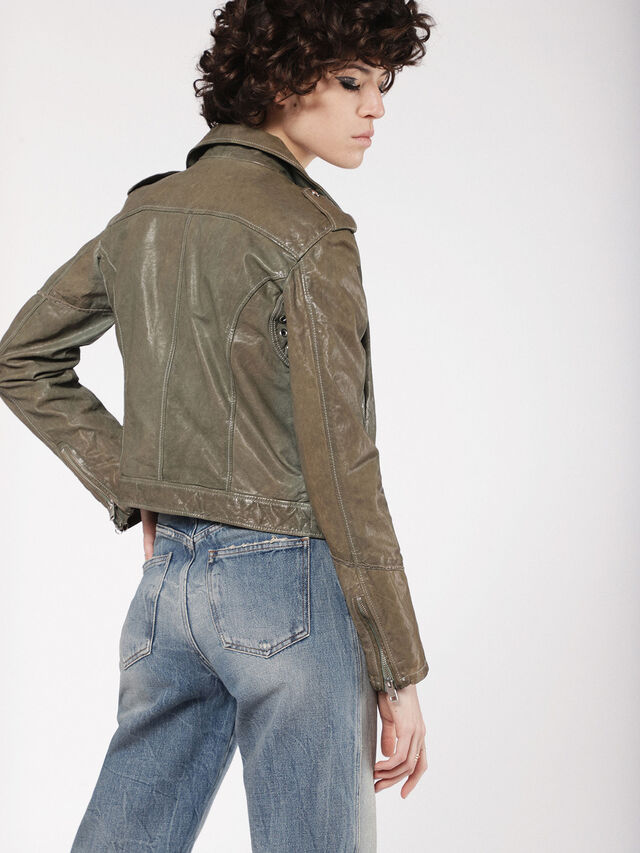 Diesel - L-SERY, Olive Green - Leather jackets - Image 2
