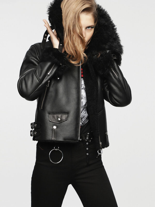 Diesel - L-TIA, Black Leather - Leather jackets - Image 5