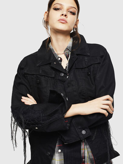 Diesel - DE-NALINI, Black/Dark grey - Denim Jackets - Image 5