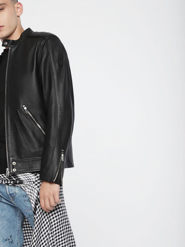 Diesel L-QUAD, Black Leather - Leather jackets - Image 4