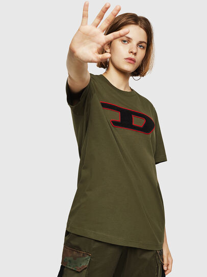 Diesel - T-JUST-DIVISION-D-FL, Military Green - T-Shirts - Image 1