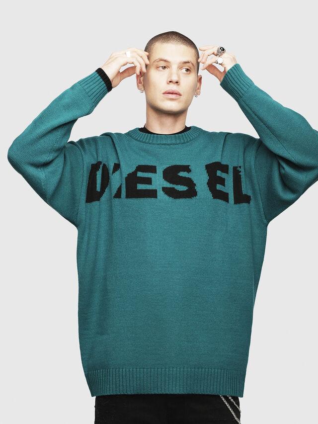 Diesel - K-LOGOX, Dark Green - Knitwear - Image 1