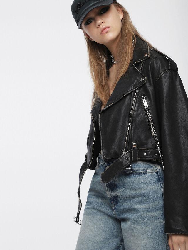 Diesel - L-HELGHEM, Black Leather - Leather jackets - Image 3
