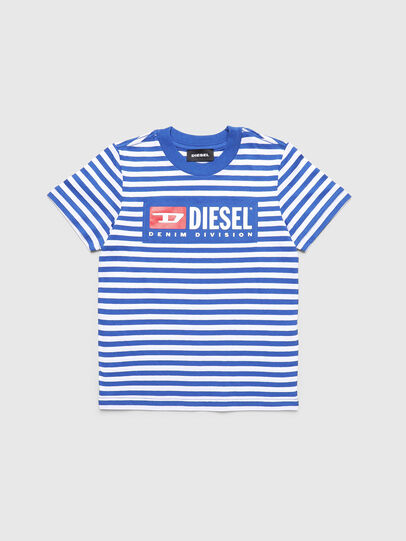 Diesel - TVIKB-R, Blue/White - T-shirts and Tops - Image 1