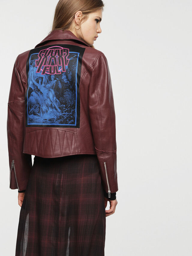 Diesel - L-AIMEE, Burgundy - Leather jackets - Image 2