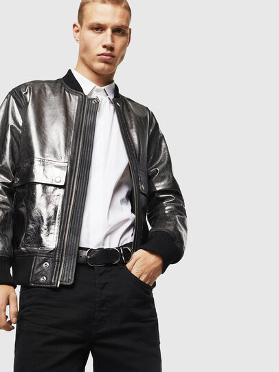 Diesel - L-STEWARD-FOIL, Black - Leather jackets - Image 4