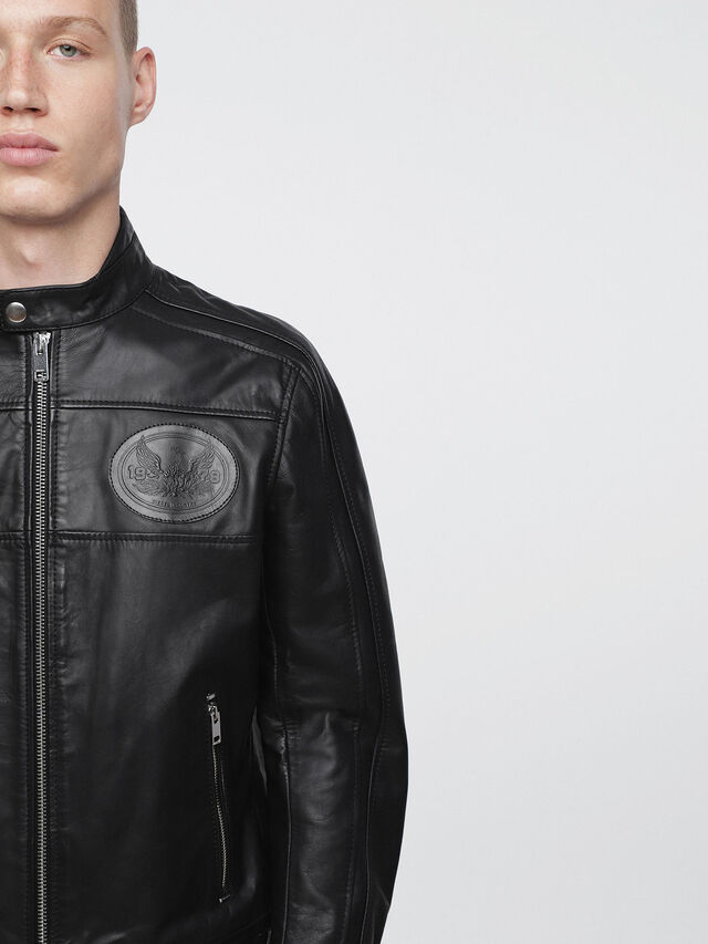 Diesel L-STREET, Black Leather - Leather jackets - Image 3