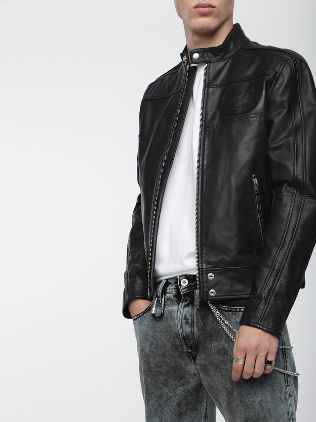 Diesel L-STREET, Black Leather - Leather jackets - Image 1