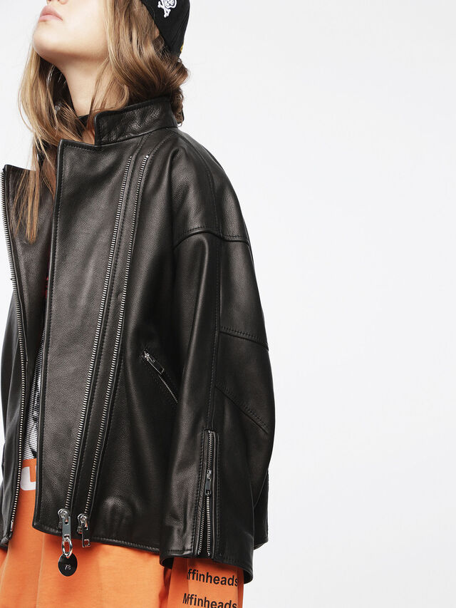 Diesel - L-DROP, Black Leather - Leather jackets - Image 4