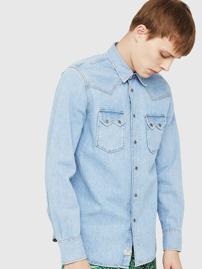 Diesel - D-LEO, Light Blue - Denim Shirts - Image 1