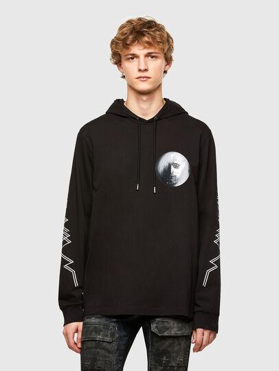 Diesel - T-UST-LS-HOOD, Black - T-Shirts - Image 1