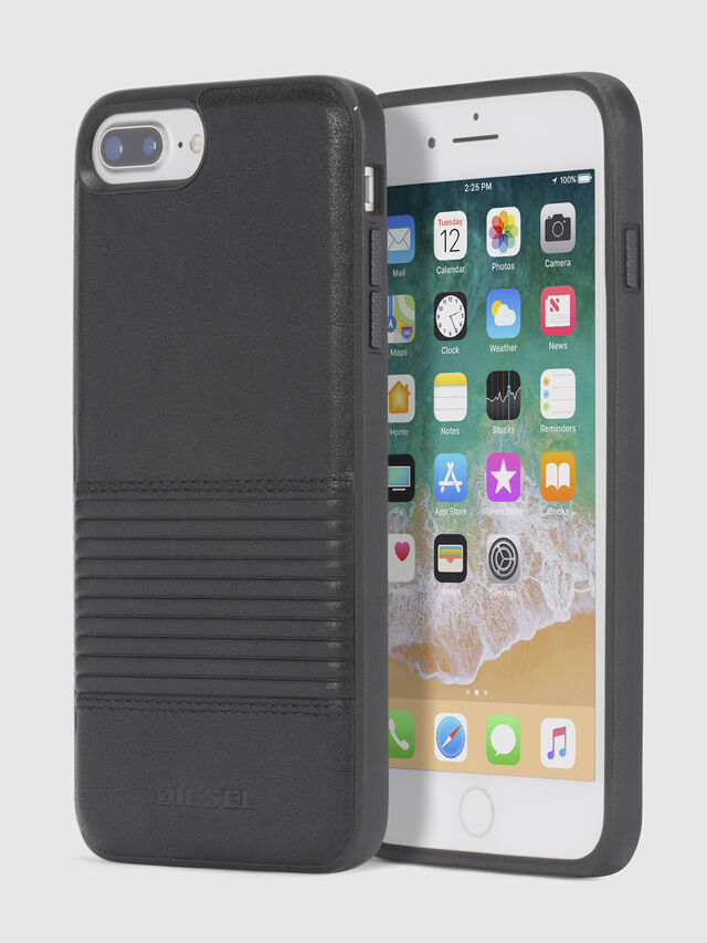 BLACK LINED LEATHER IPHONE 8/7/6s/6 CASE, Black