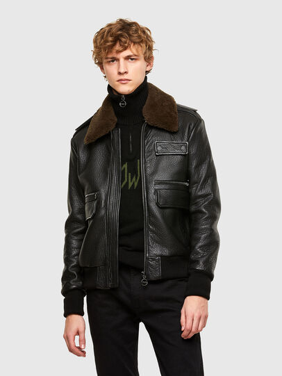 Diesel - L-FRED, Black - Leather jackets - Image 1