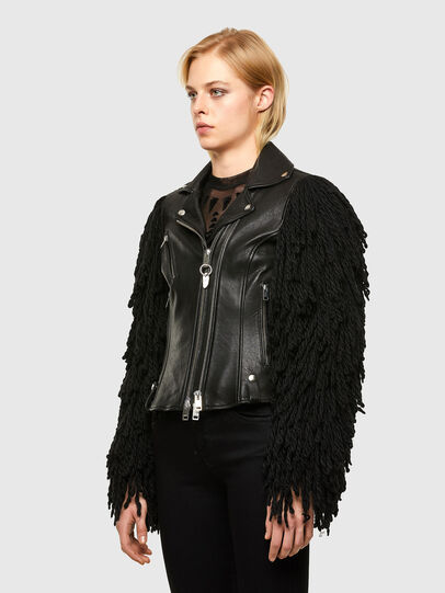 Diesel - L-ELIZABETH, Black - Leather jackets - Image 5
