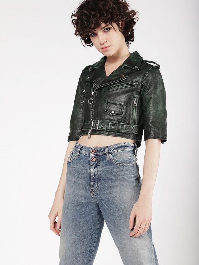 Diesel - L-JUPOR, Dark Green - Leather jackets - Image 1