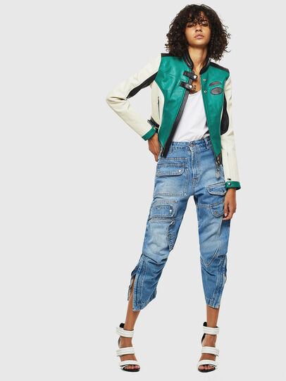 Diesel - L-ALLIE, White/Green - Leather jackets - Image 7