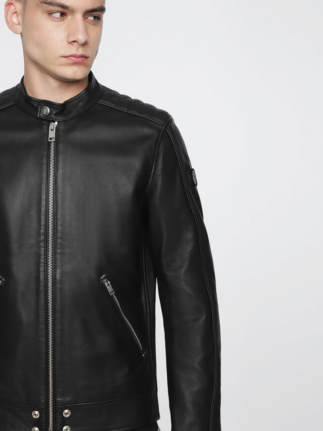 Diesel L-QUAD, Black Leather - Leather jackets - Image 3