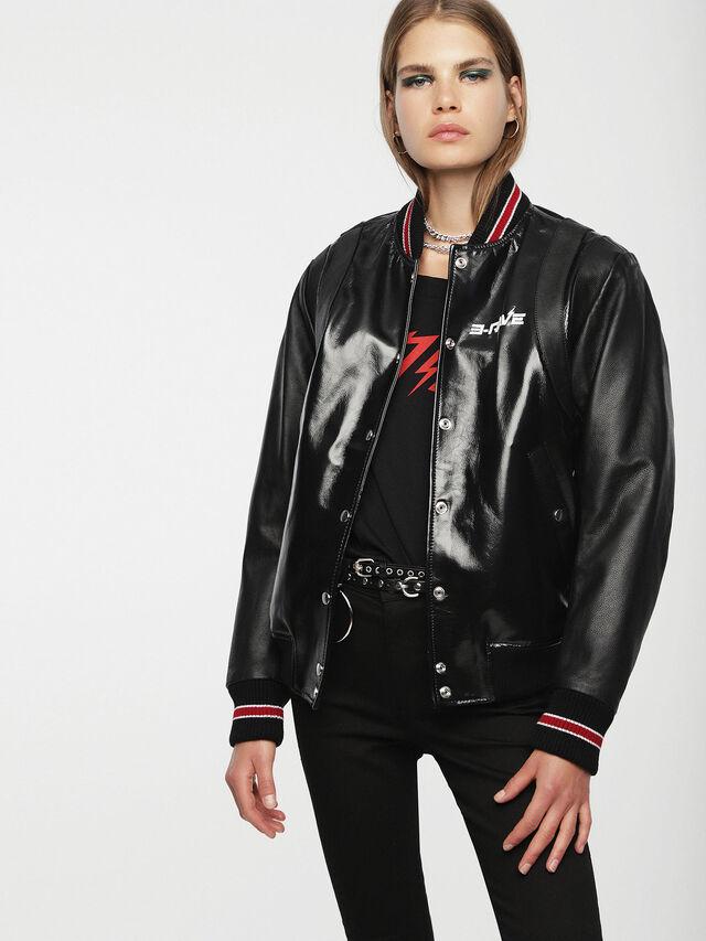 Diesel - L-BYLLA, Black Leather - Leather jackets - Image 1